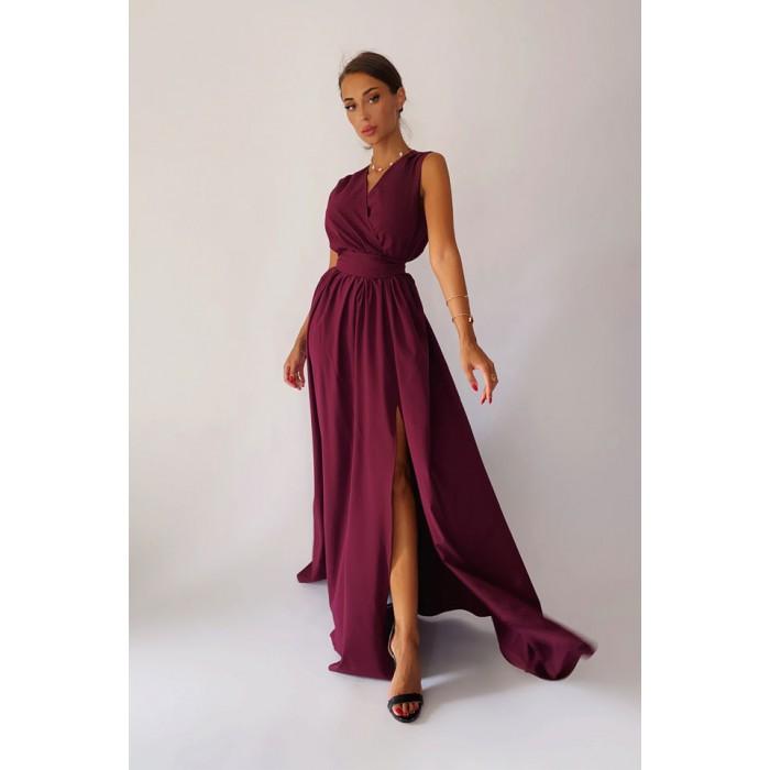 Вечернее платье  с разрезом Natal цвета марсала