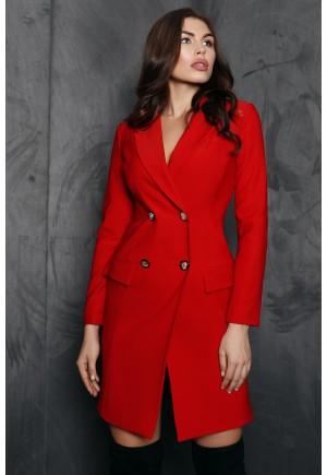 Роскошное платье-тренч Edit красного цвета