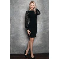 Черное платье с кружевом Eirice