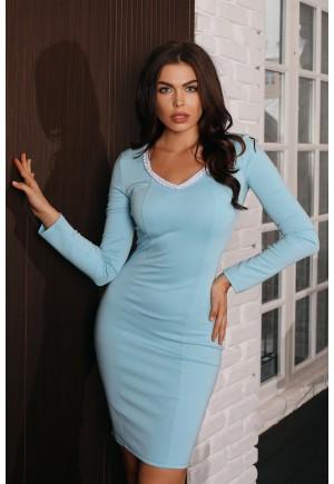 Элегантное платье пастельно-голубого цвета  Leleya