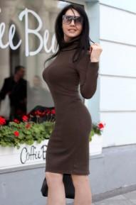 Платье-водолазка Etness темно-оливковый
