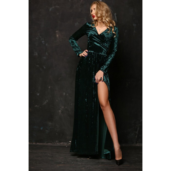 Бархатное платье Kameron изумрудного цвета