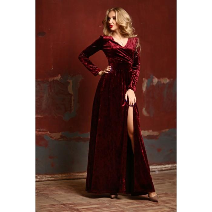 Бархатное платье Kameron винного цвета