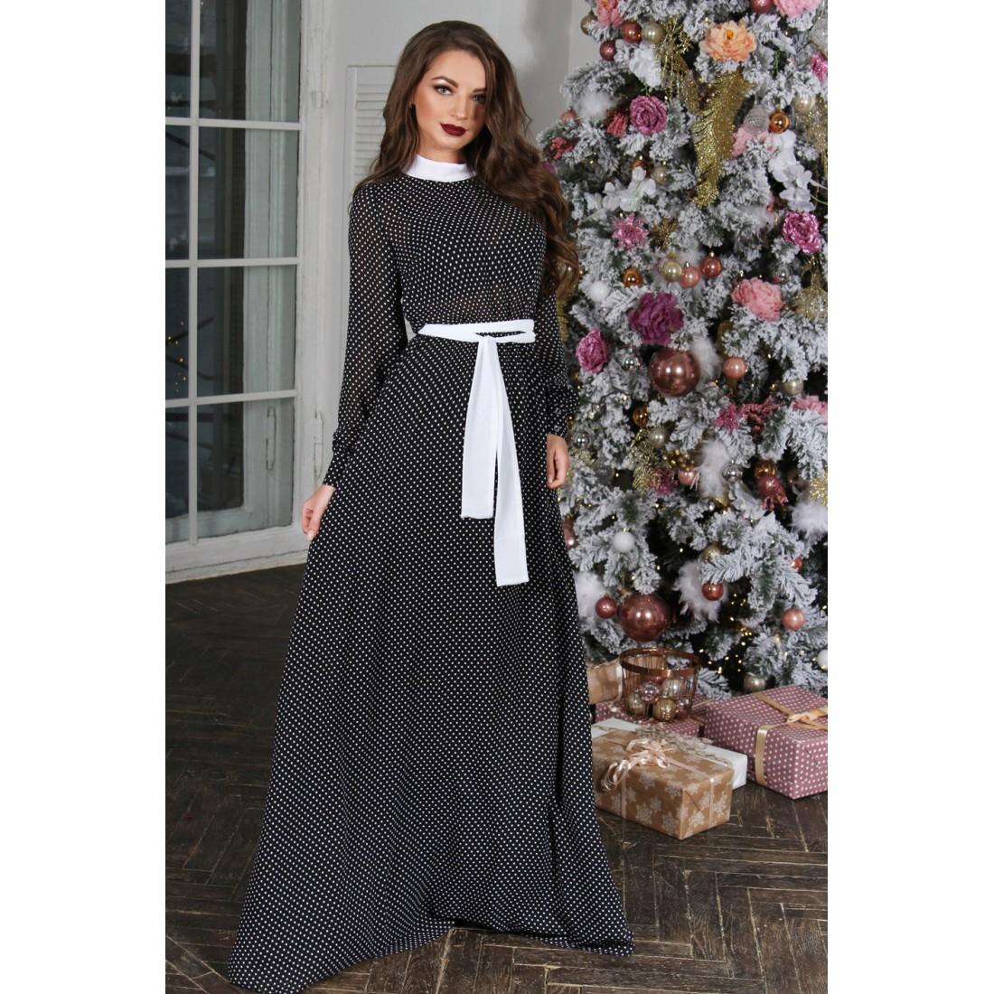 e89b11107ef Шифоновое платье в горошек Milana (Арт. R158)