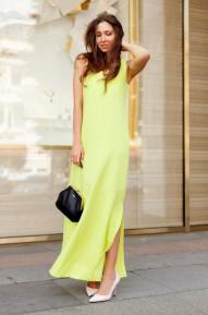 Платье в пол Asy в цвете Лайм