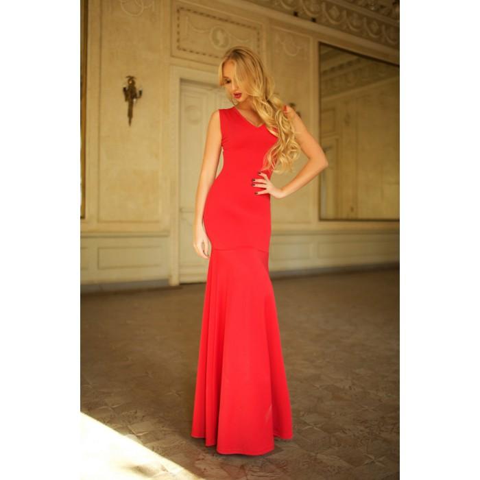 Красное платье в пол Cornett с юбкой-русалкой