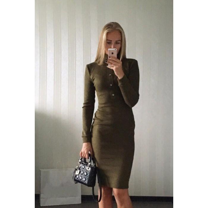 Стильное платье цвета хаки Dairik