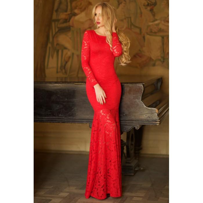 Кружевное платье Jacklin красного цвета